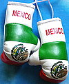 Mexico Mini Boxing Gloves. Mascot Mexico Boxing Glove, Talisman Mexico Kikhandschuh, Mascot for rear view mirror