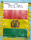 Bolivia fringed Window Hanger, car flag mini bolivia, bolivien auto fahne,