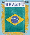 Brazil Mini Window Hanger, fringed car flag Brazil, Brasilien Auto fahne