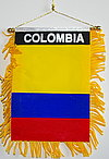 Window Hanger fringed Colombia, Car flag Colombia, Autofahne Colombia