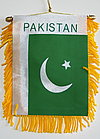 Pakistan Mini Car Flag, window hanger pakistan, gold fringed baner pakistan