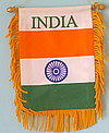 India mini fringed car flag, autofahne indien