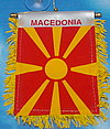 Macedonia Mini Car Flag, fringed banner macedonia, autofahne Mazedonien