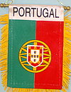 Portugal mini window hanger, fringed car flag portugal