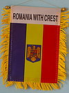 Romania with crest mini banner, autofahne romanien, window hanger romania