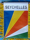 Seychelles Mini car flag, autofahne seychelles, fringed country banner of seychelles