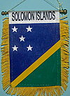 Solomon Islands window hanger, mini fringed car flag, country flag solomon islands, autofahne solomon islands