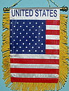 United States Mini window hanger, autofahne USA, country fringed banner usa