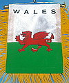 Mini banner wales, fringed flag wales, autofahne wales, mini car banner wales
