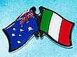 Twin Pin Australia/Italy Crossed Flag Pin