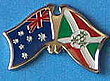 Australia/Burundi Crossed Flag Pin, Double Pin Australia/Burundi, Flag at Pin Australia/Burundi