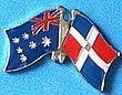 Twin Pin Australia/Dominican Rep, Double Pin, Crossed Flag Pin, Friendship