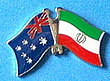 Twin Pin Asutralia/Iran Crossed Flag Pin