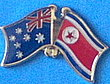 Twin Pin Australia/Korea North, Crossed Flag Pin
