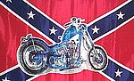 Bike on Rebel Flag, Fahne mit Motorbike, Rebel Flag with Bike