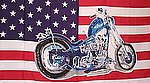 Bike on USA Flag, Fahne mit Motorbike Amerika Fashne mit Motor Rad, Flagge