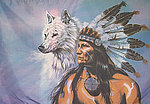 Red Indian Chief Wolf, Flag Red Indian w Wolf