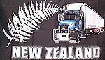 Truck on silkverfern Flag, Lastwagen Auf Silver Fern
