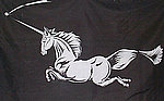 Unicorn Black Flag, Fahne Mit Unicorn Pferd