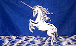 Unicorn Flag, Blue with White Horse, Fahne, Flagge