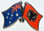 Australia/Albania Friendship Pin, Crossed flag Pin