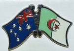 Australia/Algeria Friendhsip Pin, Crossed Flag Pin, Twin Pin Australia/Algeria,