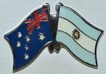 Australia/Argentina Friendship Pin, Crossed Flag Batch,  Lapel Pin Australia/Argentina