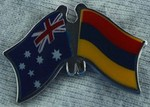 Australia/Armenia Friendship Pin, Crossed Flag Pin, Twin Pin Australia/Armenia