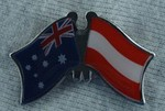 Australia/Austria Friendhsip Pin, Crossed flag Pin, Twin Pin Australia/Austria, double Pin,