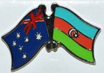 Australia/Azerbaijan Crossed Flag Pin, Flag Badge Australia/Azerbajian, Double Pin,