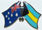 Australia/Bahamas Crossed Flag Badge, Double Pin, Friendship Badge