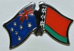 Australia/Belarus Crossed Flag Pin, Double Pin Australia/Belarus, Twin Pin,