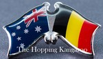 Australia/Belgium Friendship Pin, Crossed Flag Pin, Double Pin australia/Belgium