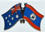 Australia/Belize Friendship Pin, Crossed Flag Pin, double Pin australia/Belize,
