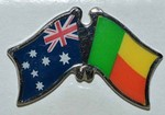 Australia/Benin Crossed Flag Pin, Friendship Pin, Double Pin, Twin flag Badge,