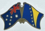 Australia/Bosnia Friendship Pin, Twin Pin. Crossed Flag Pin Australia/Bosnia,