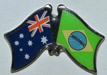 Australia/Brazil Friendship Pin, Crossed Flag badge,Twin Pin