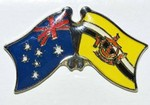 Australia/Brunei Friendship Pin, Crossed Flag Pin,Twin Pin Australia/Brunei