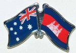 Australia/Cambodia Friendship Pin, Twin Badge, Crossed Flag Pin Australia/Cambodia