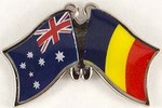 Australia/Chad Friendship Pin, Twin Badge, Crossed flag Pin Australia/Chad,,