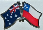 Australia/Chile Friendship Pin, Twin Badge, Crossed Flag Pin australia/Chile,