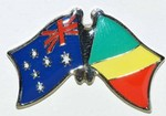 Australia/Congo Crossed Flag Badge, Double Pin. Australia/Comngo Friendship Pin,