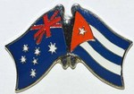 Twin Pin Australia/Cuba Double Pin, Crossed Flag Pin,