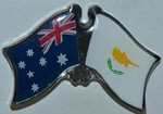 Crossed flag Pin Australia/Cyprus, Double Pin