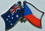 Crossed Flag Pin Australia/Czech Republic, Double Pin, Friendship Pin,