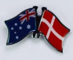 Crossed Flag Pin Australia/Denmark, Double Pin, Friendship Pin,