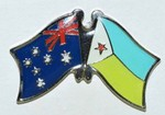 Australia/Djibouti Crossed Flag Badge, Friendship Pin. double Pin,