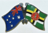 Crossed Flag Pin Australia/Dominica, Double Pin