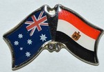 Twin Pin Australia/Egypt Double Pin, Crossed Flag Pin Australia/Egypt,