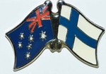 Twin Pin Australia/Finland, Crossed Pin, Friendship Pin australia/Finland,